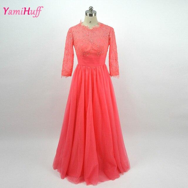 Wassermelone Plus Größe Lange Mutter der Braut Kleider Spitze Mit ...