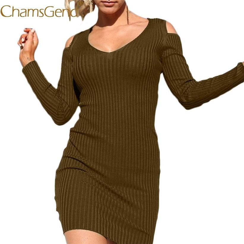 Chamsgend Newly Design Women Autumn Long Sleeve V Neck Off Shoulder Knitted Dress Bodycon Sheath Party Vestido 71027 economic newly design 2 4mx1 2mx3cm cheap gymnastic mats
