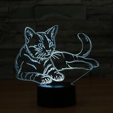 Roztomilé 3D LED Nočné osvetlenie s motívom mačky – 7 farieb