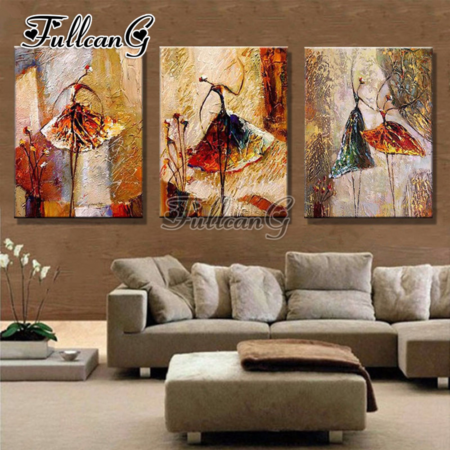 FULLCANG Embroidery-Kits Cross-Stitch Mosaic Diamond Abstract Triptych Painting-5d Diy title=