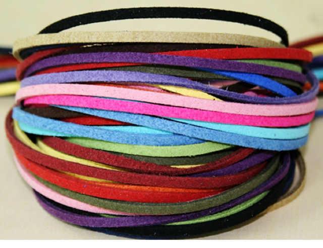 Venda quente 3mm largura 1 m/lote cor misturada flat falso camurça coreano veludo corda de couro corda de veludo dupla face veludo para vestuário