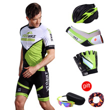 купить Cycling Sets Men Bike Clothing Bicycle Clothes Summer Short Sleeve Pants Jersey Pro Team Sports Wear Suits Helmet Gloves Glasses дешево
