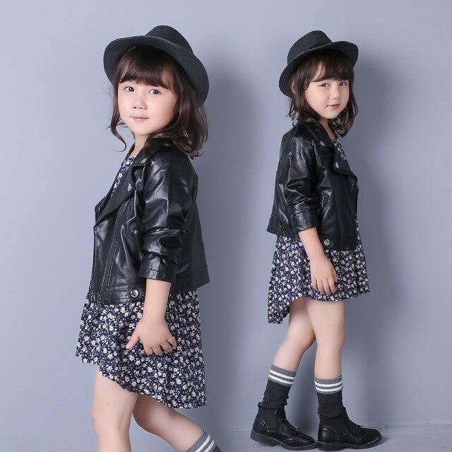 Hot Sale 2016 New Baby Girls Leather Jacket Autumn Child Toddler