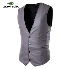 Mens Faux Leather V Neck Sleeveless Jacket Wet Look PU Gilet Vest Waistcoat Casual Slim Fit Single Breasted Vintage 903-B220