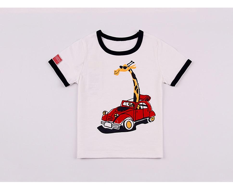 HANQIYAHULI 2018 Summer Boy Cartoon Deer and Car T-shirt 2-6 Year Old - Ubrania dziecięce - Zdjęcie 4