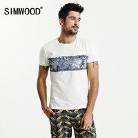 SIMWOOD T Shirt Men 2017 Summer New 100 Pure Cotton Print Fashion Brand Clothing Slim Fit