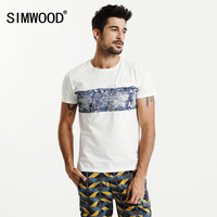 SIMWOOD T Shirt Men 2017 Summer New 100 Pure Cotton Print Fashion Brand Clothing Slim Fit