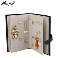 MISSFOX New Drop/Hoop/Clip/Stud Earrings Storage Book Creative Jewelry Box Full Leather Earrings Storage Box Earrings Display