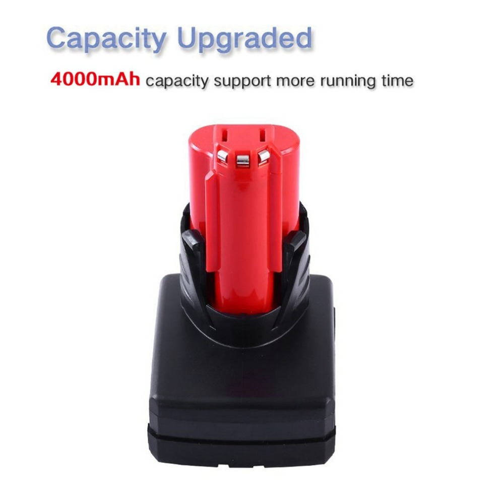 4000mAh 12V Power Tool Rechargeable Lithium Ion Battery Replacement Battery Backup 4 0Ah for Milwaukee M12