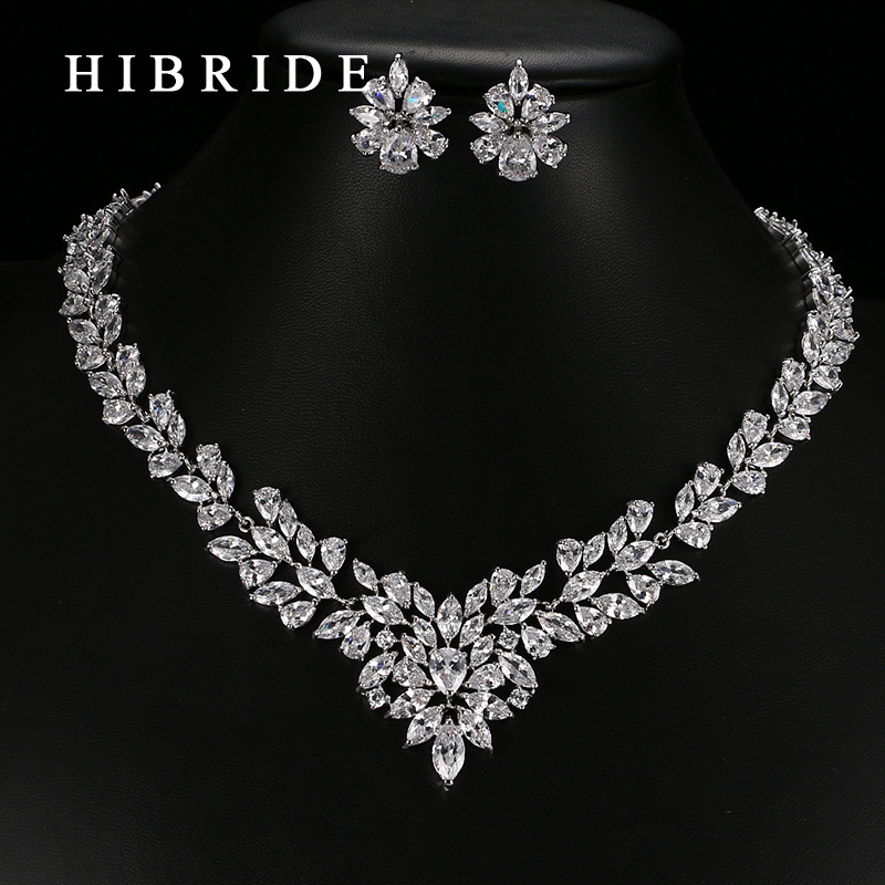HIBRIDE Jewelry 2017 Luxury Clear Crystal Gold Plated AAA CZ Jewelry Set Earrings Necklace Party Sets