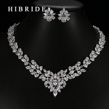 HIBRIDE Jewelry 2017 Luxury Clear Crystal Gold Color AAA CZ Jewelry Set,Earrings Necklace Party Sets for Women and Girls S-21