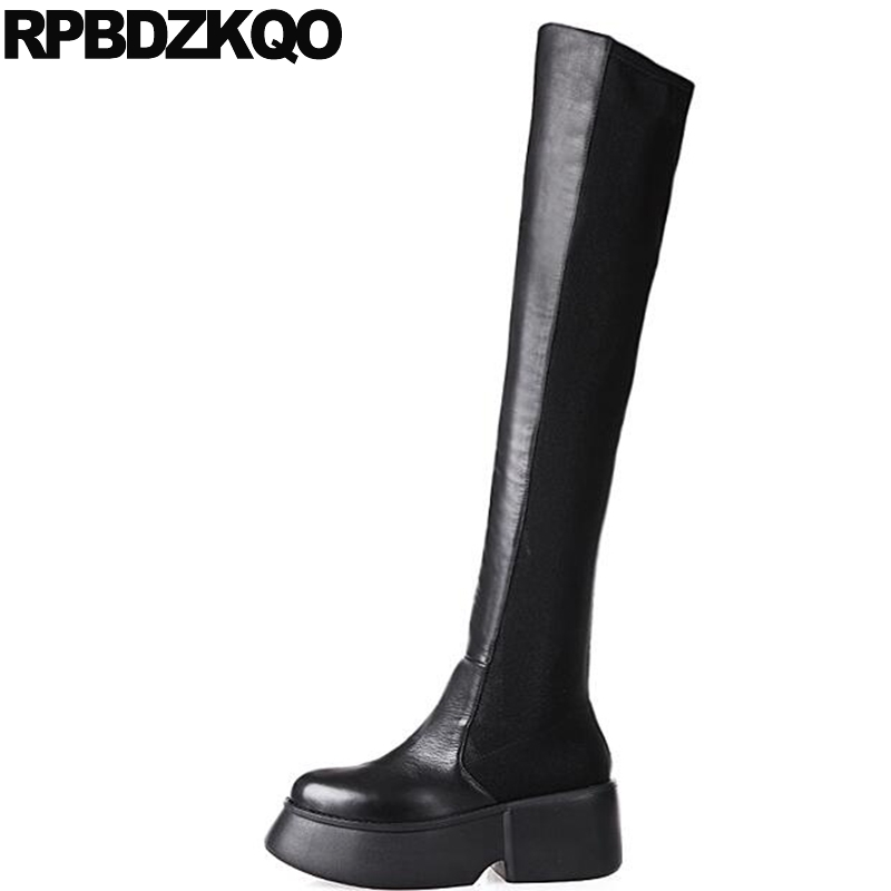 Gothic Platform Boots Punk Slip On Black Shoes Stretch Chunky Lycra Winter Over The Knee Long Genuine Leather Round Toe High slip on winter boots stretch lycra