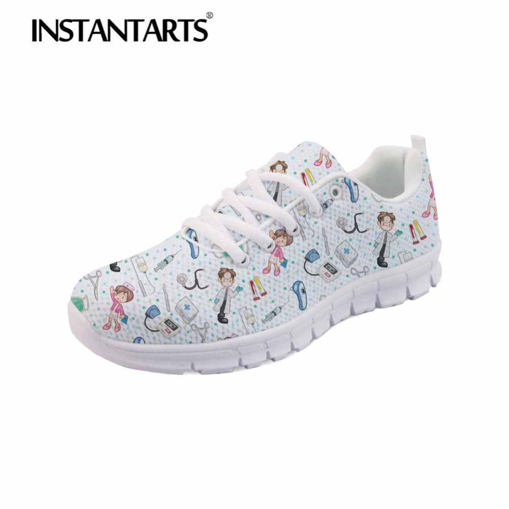 INSTANTARTS 2018 Autumn Casual Shoe for Women Female Mesh Lace Up Flats Shoes Tenis Feminino 3D Nurse Print Adult Flats Sneakers все цены