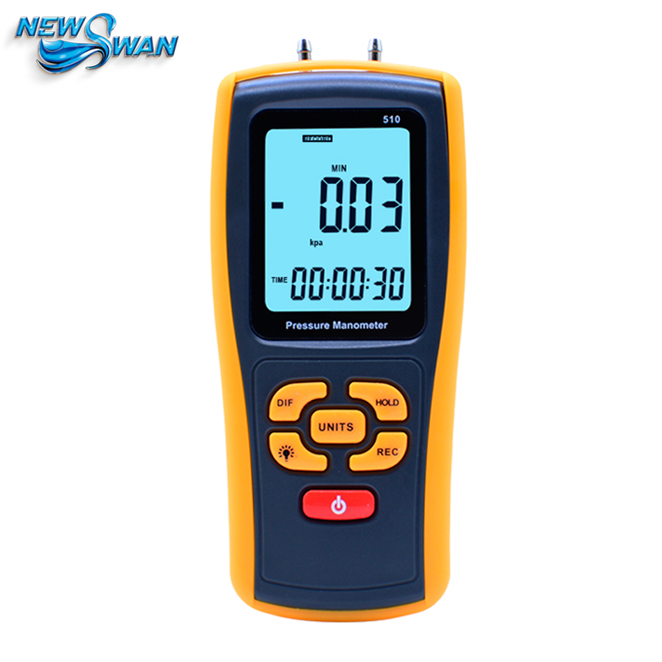 GM510 Portable Digital LCD display Pressure manometer 50KPa Pressure Differential Manometer Pressure Gauge benetech gm510 2 6 lcd handheld pressure manometer orange black 4 x aaa
