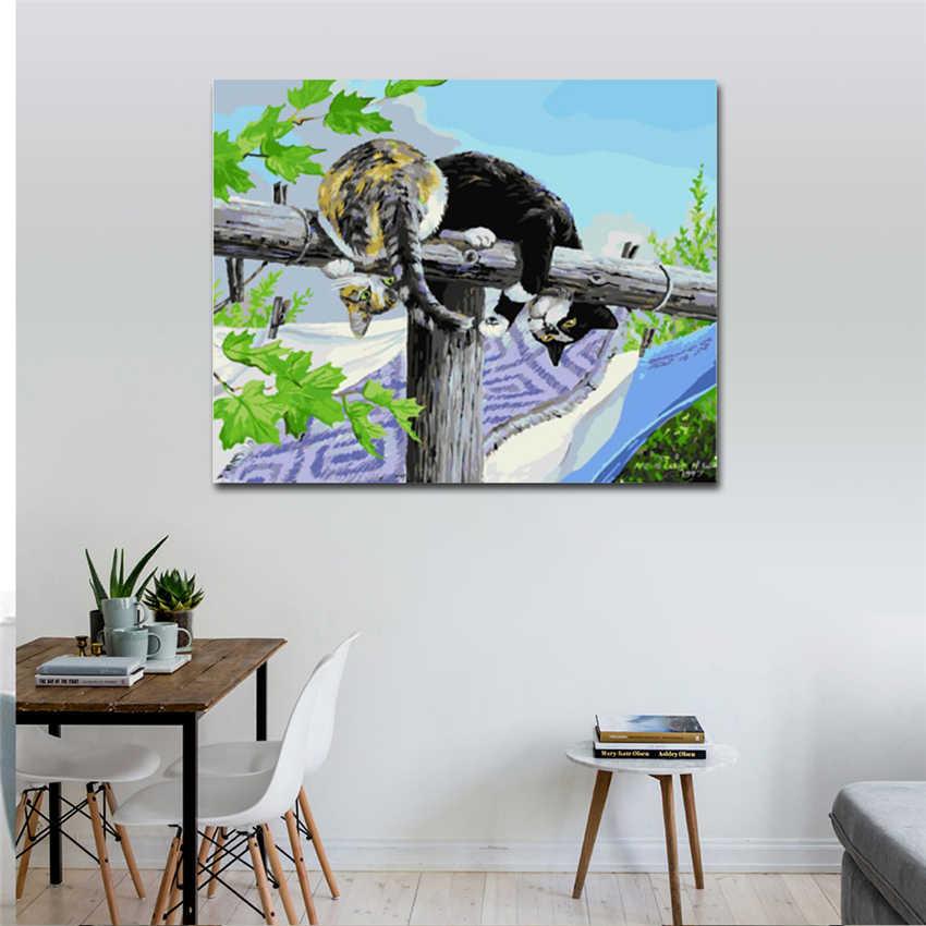 RIHE Geamuseerd Uitdrukking Diy Schilderij van Nummers Abstract Leuke Kat Olieverfschilderij Cuadros Decoracion Acryl Wall Art