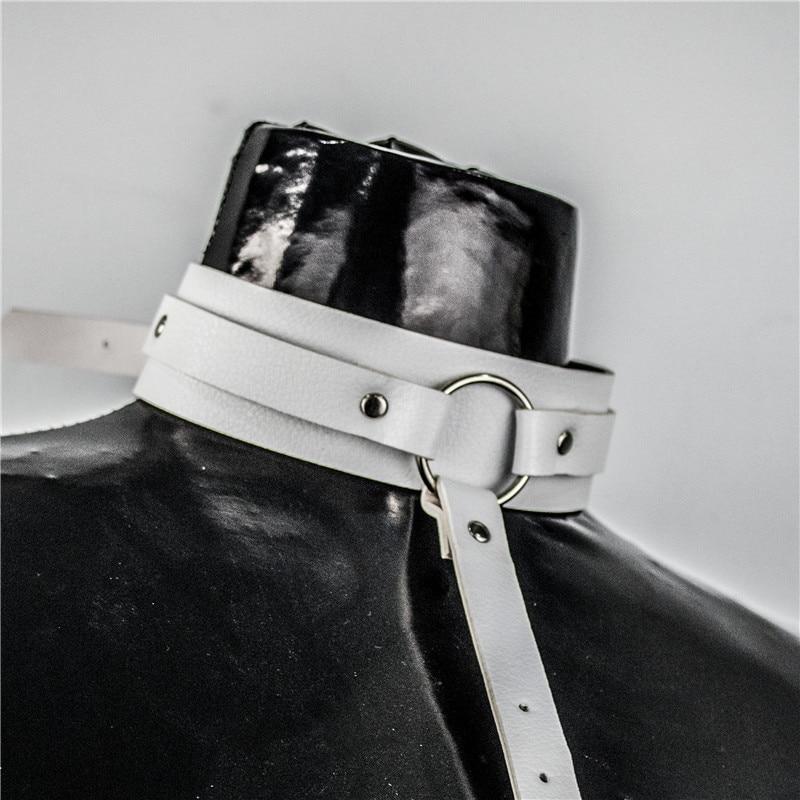 Female White Leather Belt Neck Harness Waist Bondage Women Adjustable Punk New Harajuku Garter Suspenders Waist Belts in Women 39 s Belts from Apparel Accessories