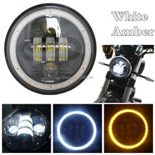 5.75 «blanc-Ambre ange yeux LED Phare Daymaker 3/4 Conduite Lumière pour Harley 883 48 Rue 750 Night Rod Faible Rider
