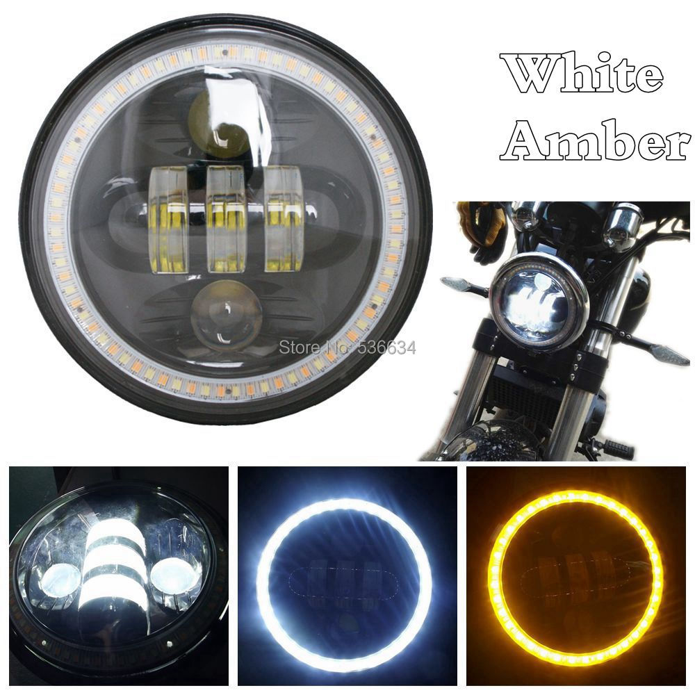 5.75 White-Amber angel eyes LED Headlight Daymaker 3/4 Driving Light Hi/Low DRLfor Harley 883 48 Street 750 Night Rod Low Rider