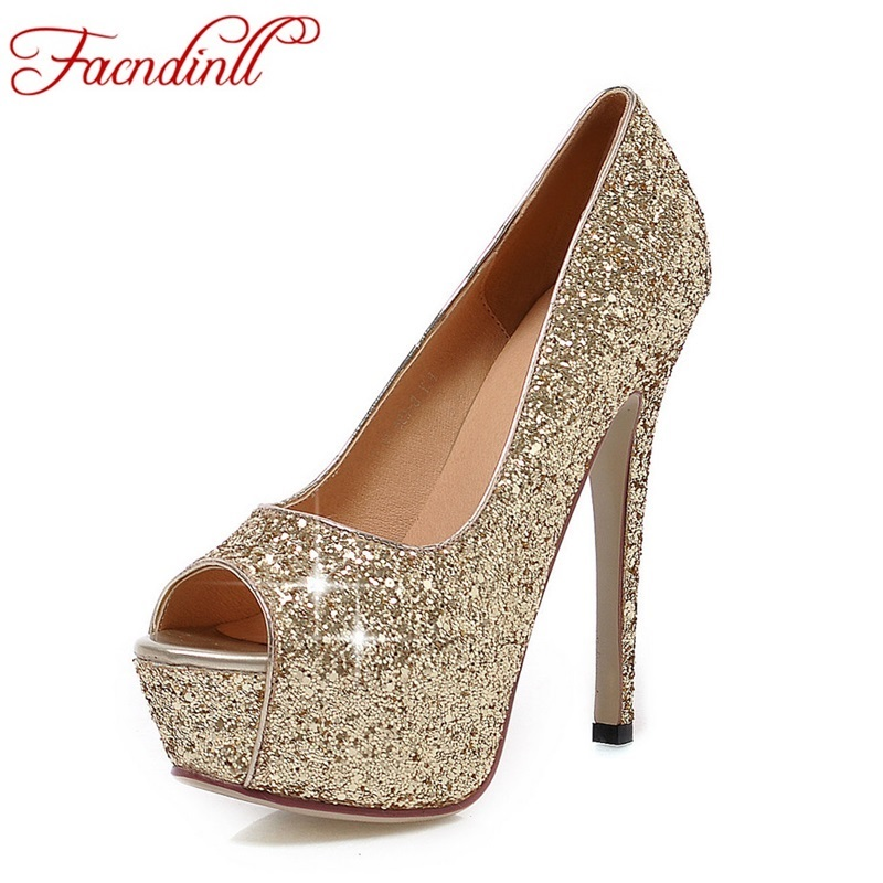 цена на FACNDINLL women wedding party shoes fashion high heels peep toe glitter platform shoes woman pumps silver gold plus size 34-43