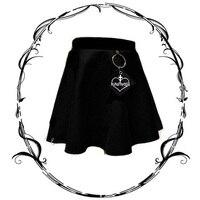 Gothic Harajuku Women's Bust skirt Hard Sister High Waist A Line Dark Black Skirts Embroidery Heart Cross With Ring Punk Skirt