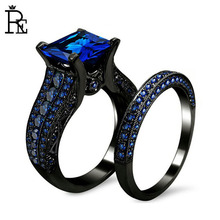 RE High Quality Copper AAA Cubic Zirconia Ring Set Black Gold Plated Square Blue Crystal Stone Wedding Engagement Finger Rings gold plated embellished ring set
