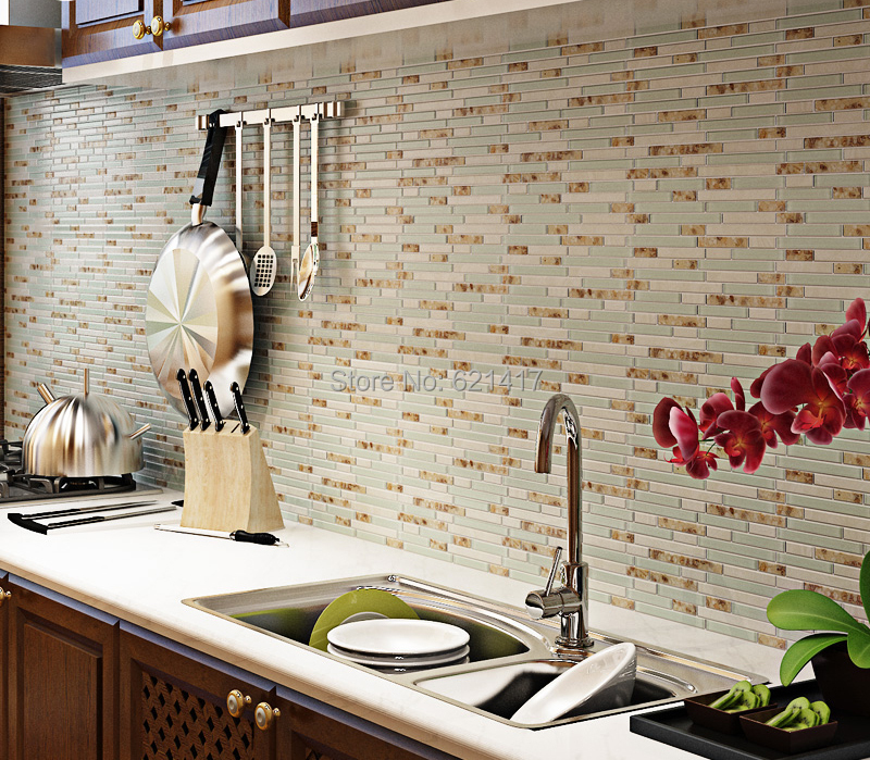 Kitchen Wall Tiles American Standard Faucet Light Blue Crystal Glass Strip Shell Mosaic Hmgm1111 Backsplash Tile Sticker Bathroom Floor In Stickers From Home Garden On