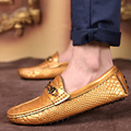 Spring Summer Male Fashion Casual Moccasins Driving Shoes Men Gold White Black Flats Solid Color Cow Leather Loafers Shoes