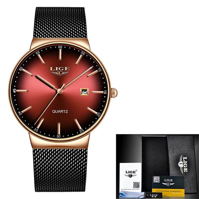 LIGE Sports Date Mens Watches Top Brand Luxury Waterproof Fashion Cool Watch Men Ultra Thin Dial Quartz Watch Relogio Masculino