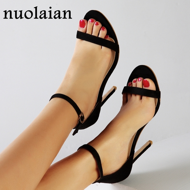 11CM Women High Heel Shoes Summer Faux Suede Leather High Heels Woman Platform Pump Sandals Womens Peep Toe Shoe Wedding Pumps
