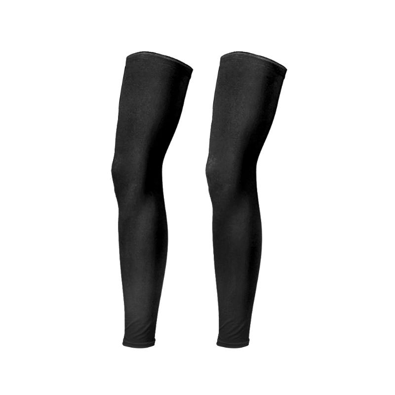 Unisex Summer UV Protection Ice Silk Leg Sleeves Solid Color Full Length Compression Non-Slip Sports Running Cycling Long Sleeve