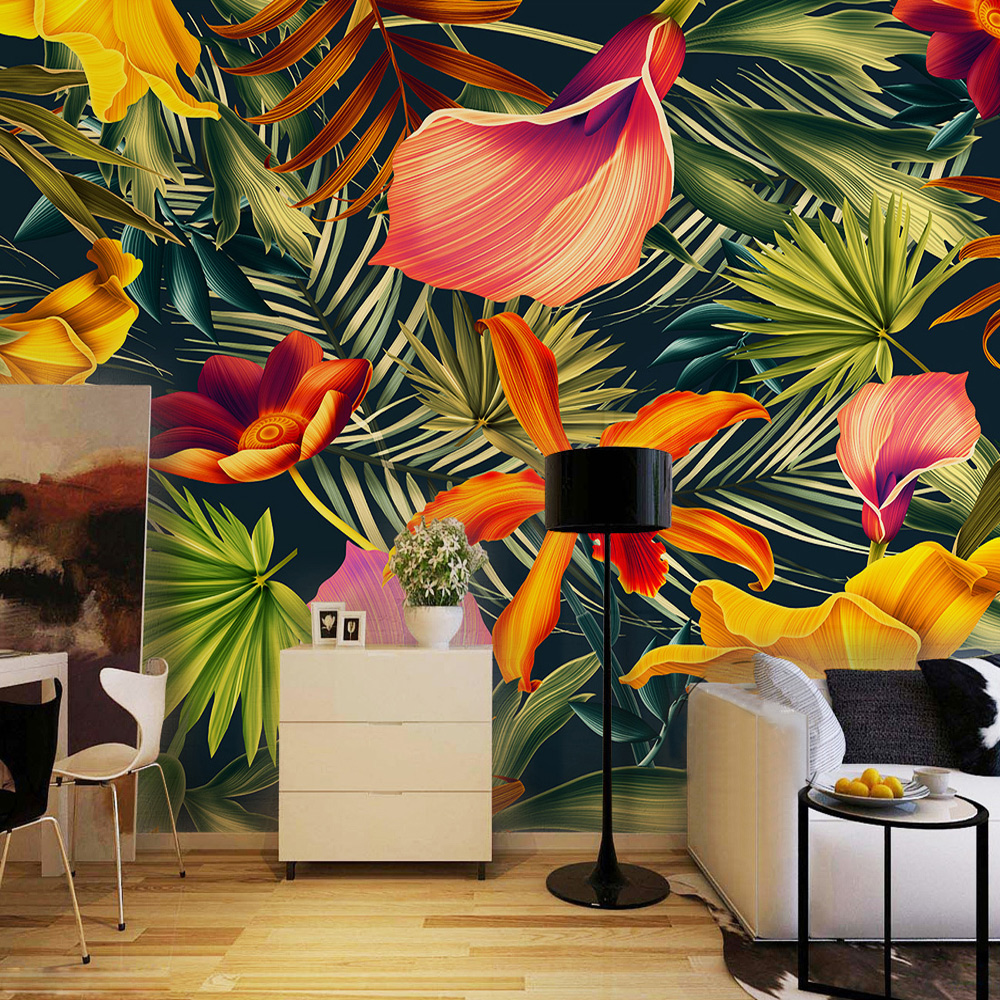 Southeast asian style tropical rain forest colorful leafs for Cafe mural wallpaper