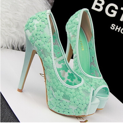 2017 Spring And Summer Lace Open Toe Sandals Mint Green Ultra High Heels Wedding Shoes Handmade Flower Bridal Women S Pump In Pumps From