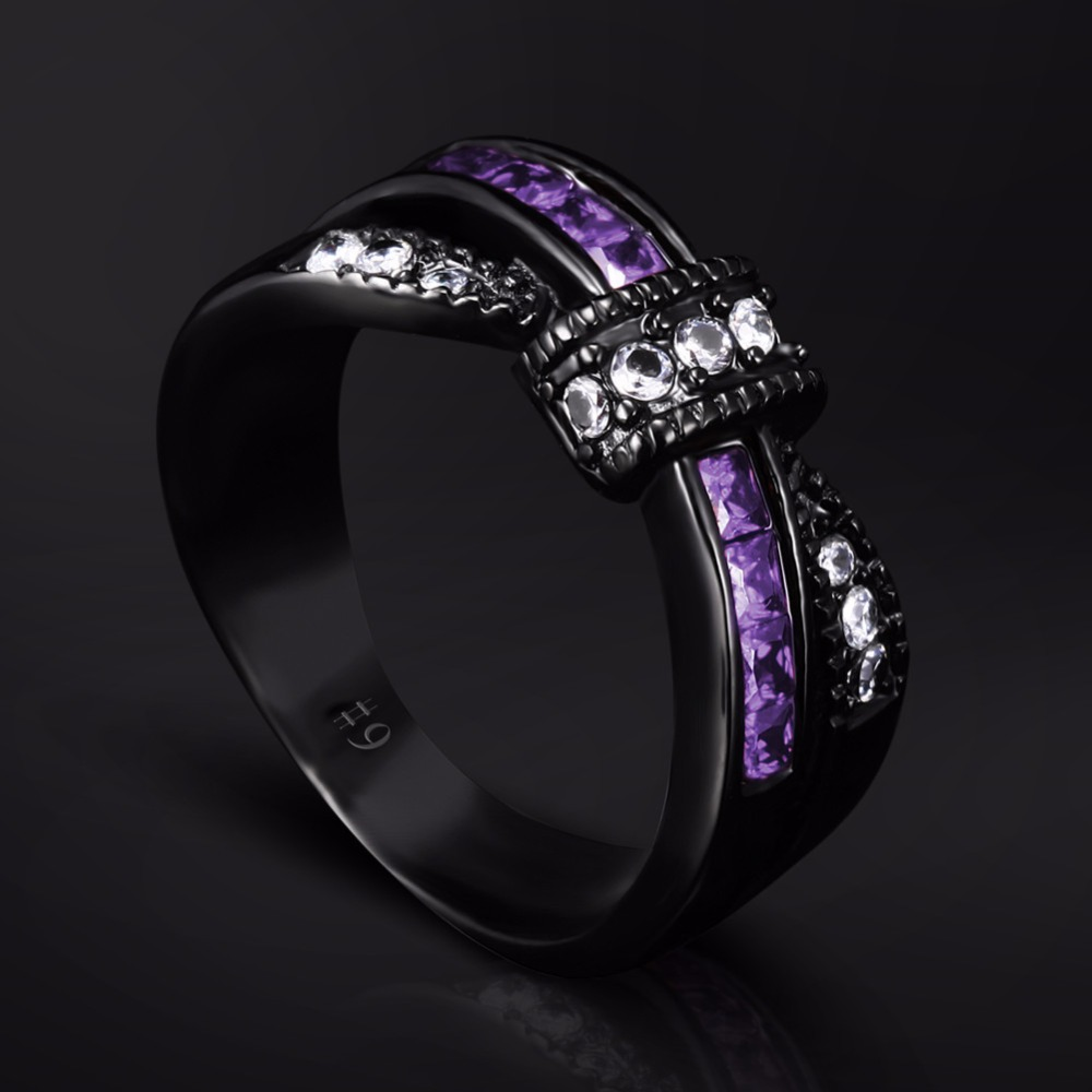 Black gold ring Stainless steel ring cross purple Zircon