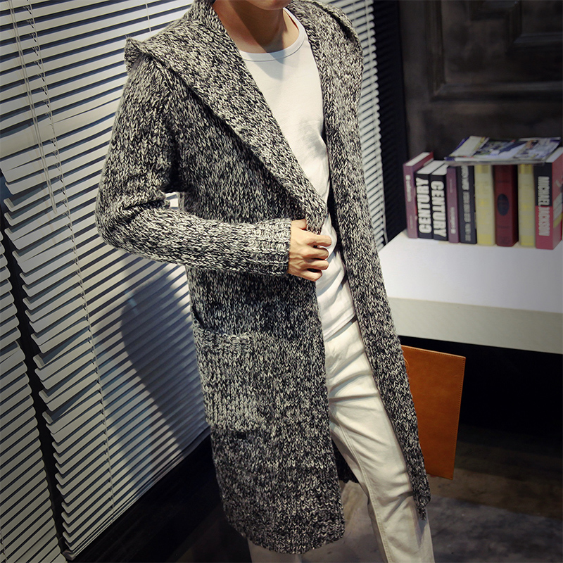 Autumn Winter Loose Long Mens Cardigans Sweaters New Fashion Big Size Jumpers Mens Hooded Sueter Knit
