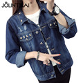 Women Basic Coats 2017 Spring And Autumn Women Denim Jacket Vintage Long Sleeve Loose Female Jeans Coat Casual Ladies Outwear