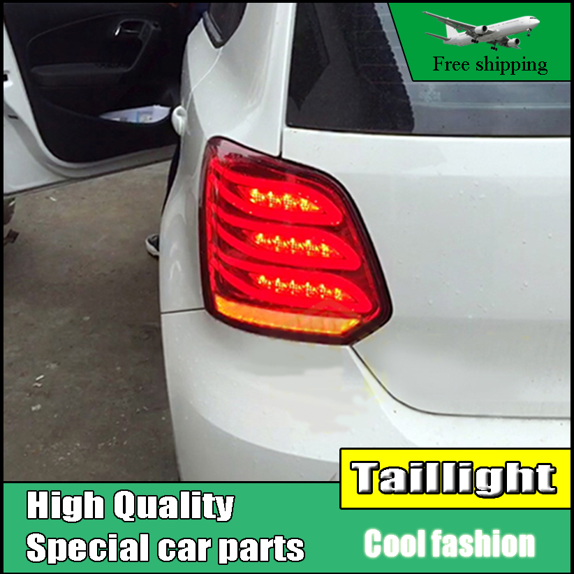 Car Styling For Volkswagen VW Polo MK5 2011-2016 Taillights LED Tail Light Rear Lamp DRL+Brake+Reversing+Dynamic Turn Signal for vw volkswagen polo mk5 6r hatchback 2010 2015 car rear lights covers led drl turn signals brake reverse tail decoration