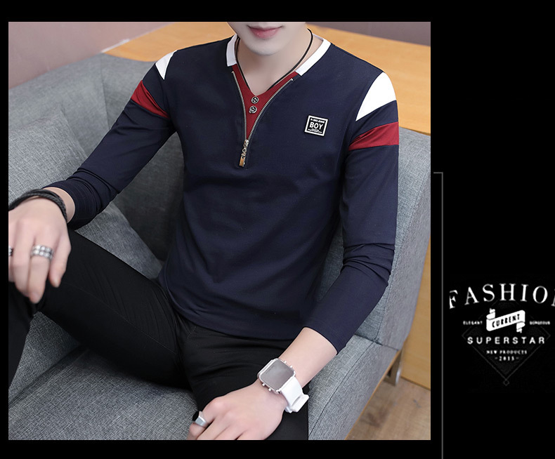 2019 Spring T-Shirt Men Long Sleeve Casual Zipper T Shirts Self-cultivation Design Simple T Shirt Brand New Round Neck Homme 18