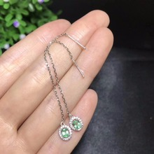 Natural emerald earrings, Colombian emeralds, professional natural gem shop, 925 silver, like to come