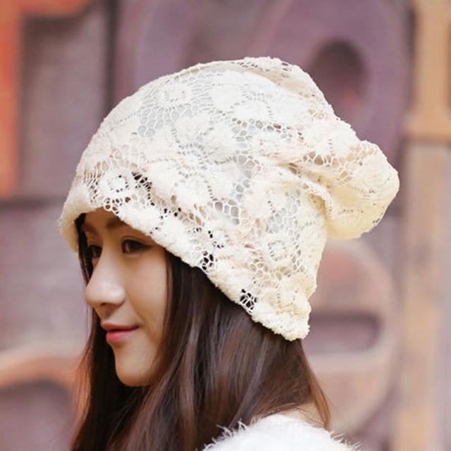 Mujeres moda de encaje tejer sombreros para mujer gorros de ...