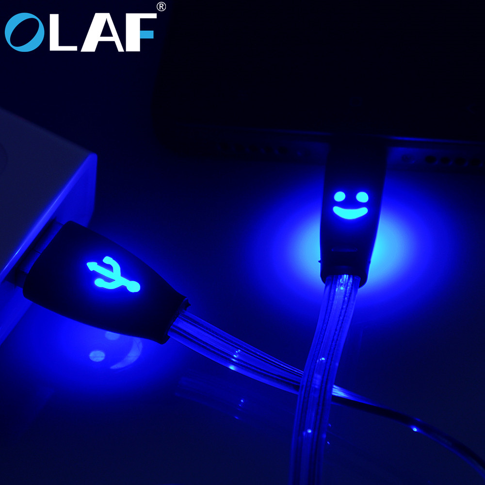 Micro USB Cable Smiling Face Glowing LED light Fast Charge USB Data Cable For iPhone Android Mobile Phone USB Charging Cables