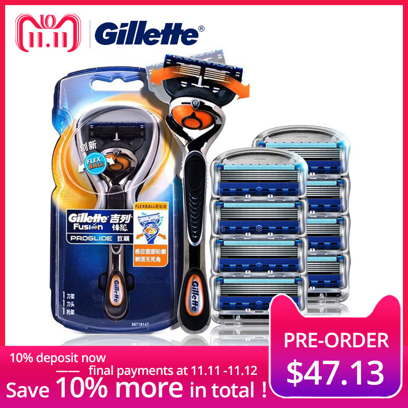 Gillette Fusion Shaving Razor Proglide Flexball Shaving Razor Blades For Men Brands Shavers Safety Razor 1 Holder+9 Blades gillette shaving razor blades for men 2 count