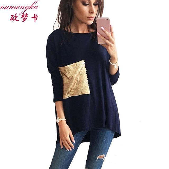 Bleu Femmes Automne Long Foncé Nouveau T Casual 2017 Printemps Shirt 34qj5LAR