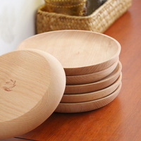 4.8 inch Beech Wood Plate Dish Art Craft