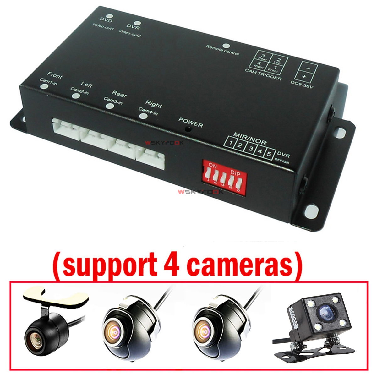 360 Degree Car Parking Front/Left/Right/Rear View 4 Cameras Split image Screen Video Monitor W/O Cables