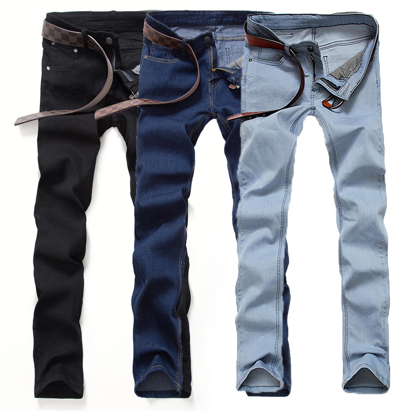 Men   jeans   young men Elastic Straight Little feet pants Fashion Slim Pure color pants Spring and autumn Business Casual   jeans