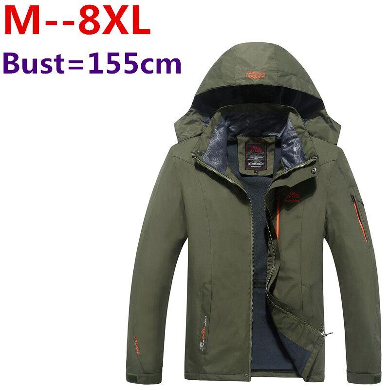 Plus rozmiar 10XL 8XL 6XL 5XL 4XL męskie kurtki wodoodporne płaszcze z kapturem wiosna mężczyźni odzież wierzchnia Army solidna Casual marka odzież męska w Kurtki od Odzież męska na  Grupa 1