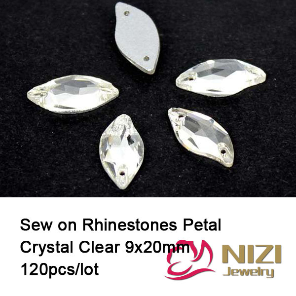 Fashion Petal Rhinestone 9X20mm 120pcs Glass Flatback Crystal Clear  Rhinestones For Garment New Crystal Clear Sewing Rhinestones 1a0262018f8d