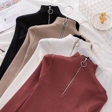 Свитер с высоким воротом на молнии, корейские женские свитера,, зимние топы для женщин, пуловер, Осенний джемпер, вязаный свитер для женщин