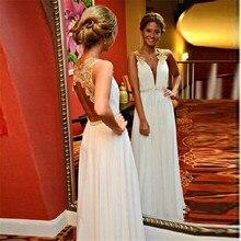 Abendgesellschaft Kleider 2016 Vestido Longo Simples Tiefem V-ausschnitt Spitze Appliques Günstige Lange Abendkleider mit Open Back