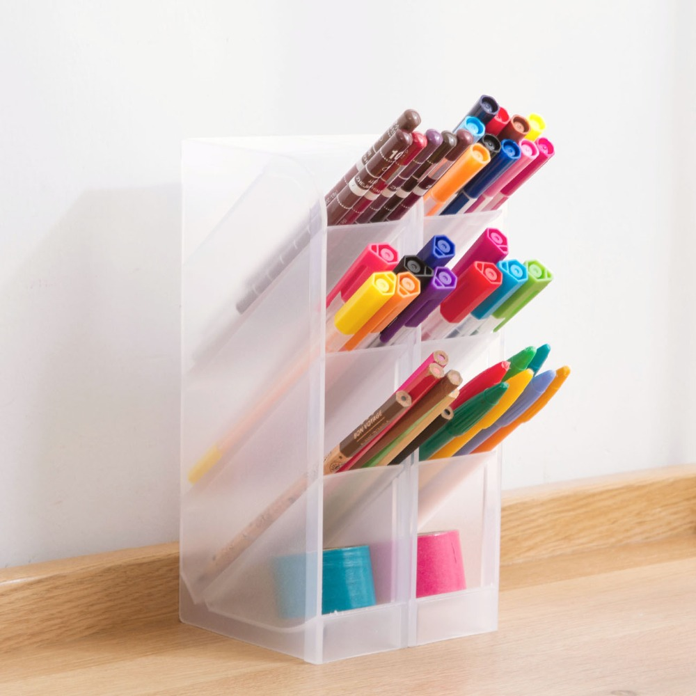 Vertical Plastic 4 Grids Desktop Storage Box Nordic Style Pen Pencil Holder Multifunctional Cosmetic Drawer Organizer Box